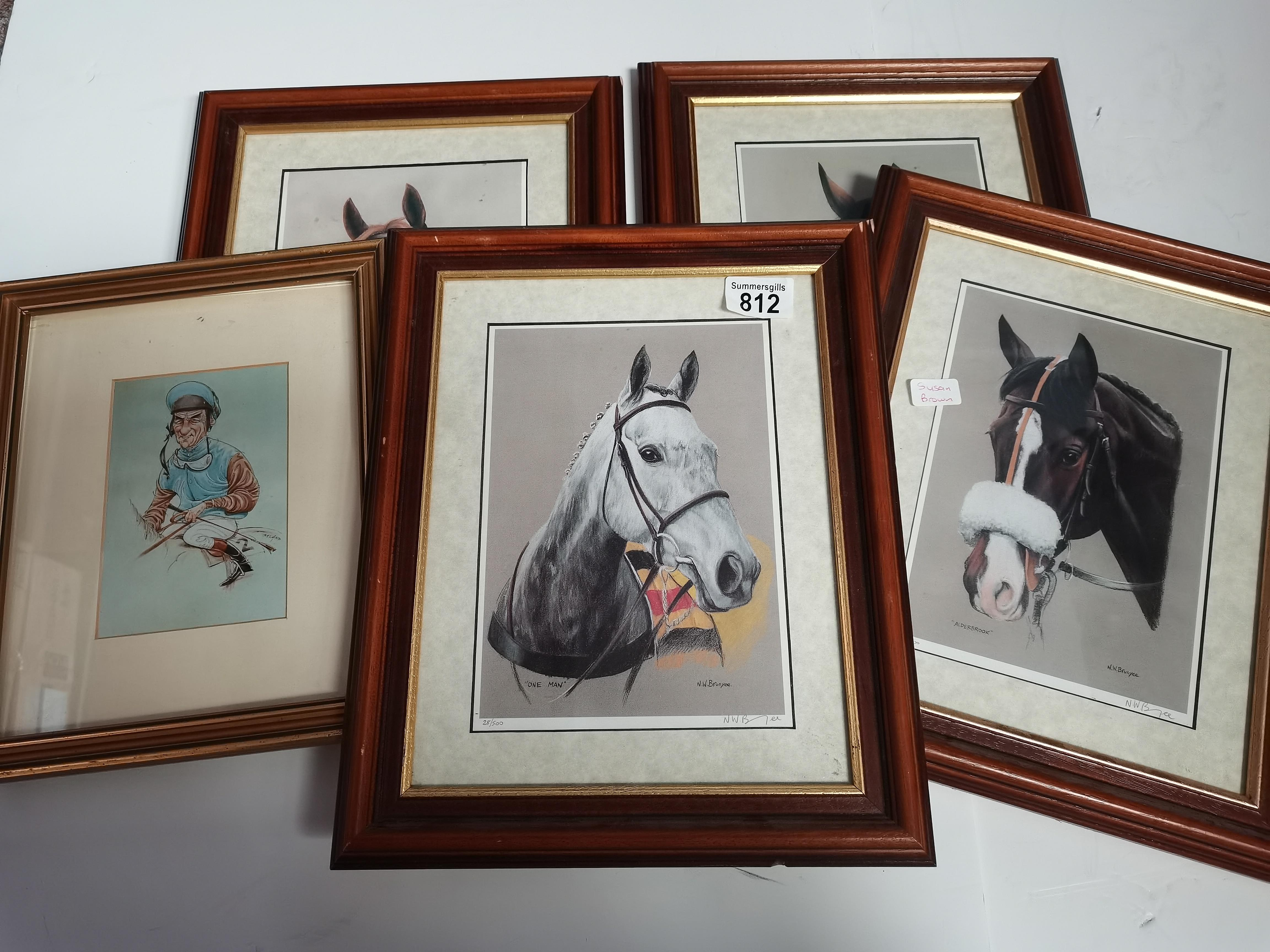 """4 Small Paintings of Horses by """"NW Brunyee"""", 1 Print of Nginsky 1 John Austin Print 2 other Pictures - Image 7 of 8"""
