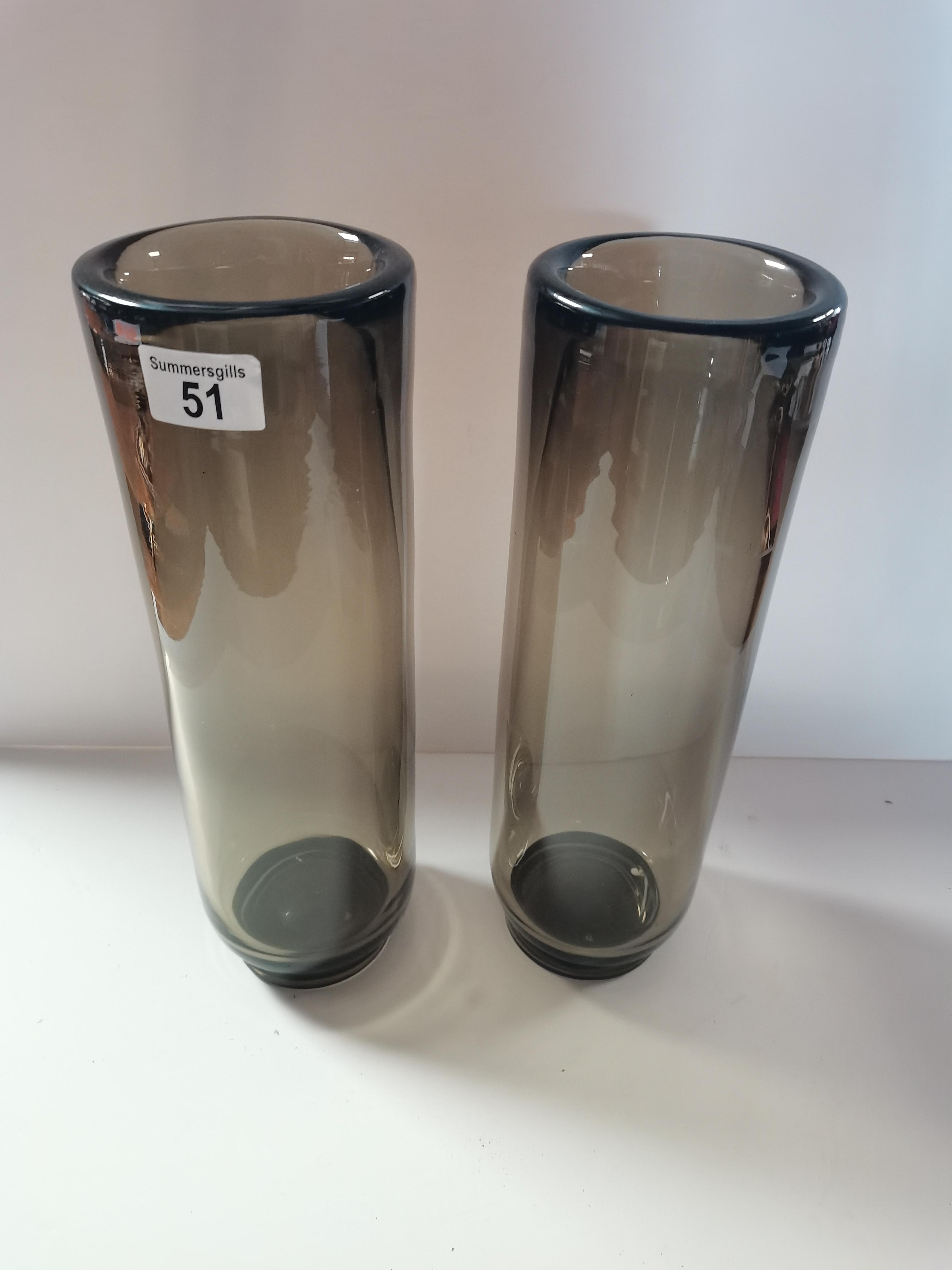 Pair 36cm vintage smoked glass vases