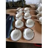 Thomas coffee set blue and gold rim 9 cups, 8 saucers
