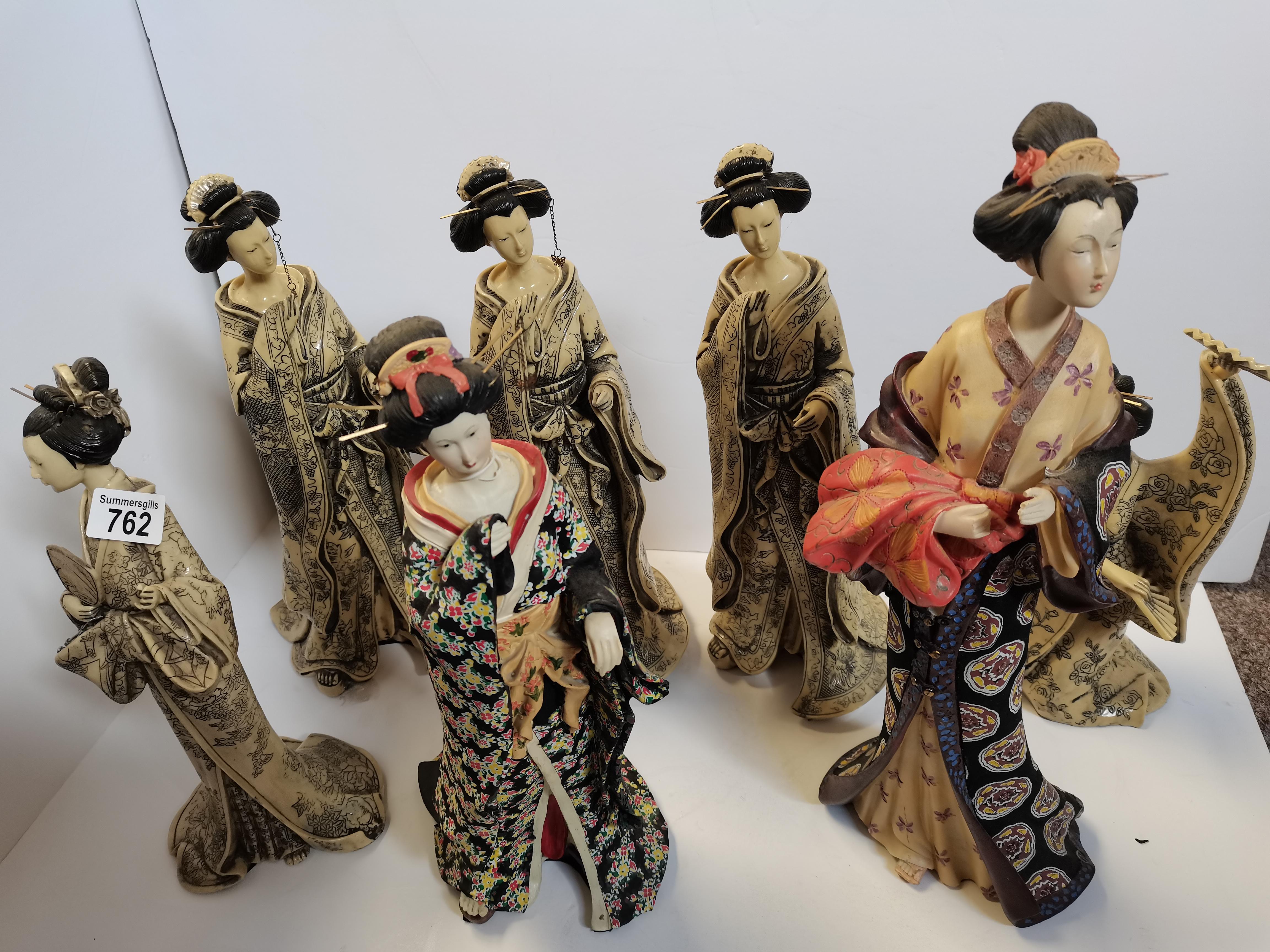 7 Oriental/Japanese Lady Ornaments