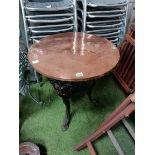 Antique copper topped pub table
