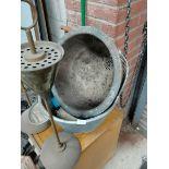 Cast iron scuttle, bath tub, filing cabinet etc