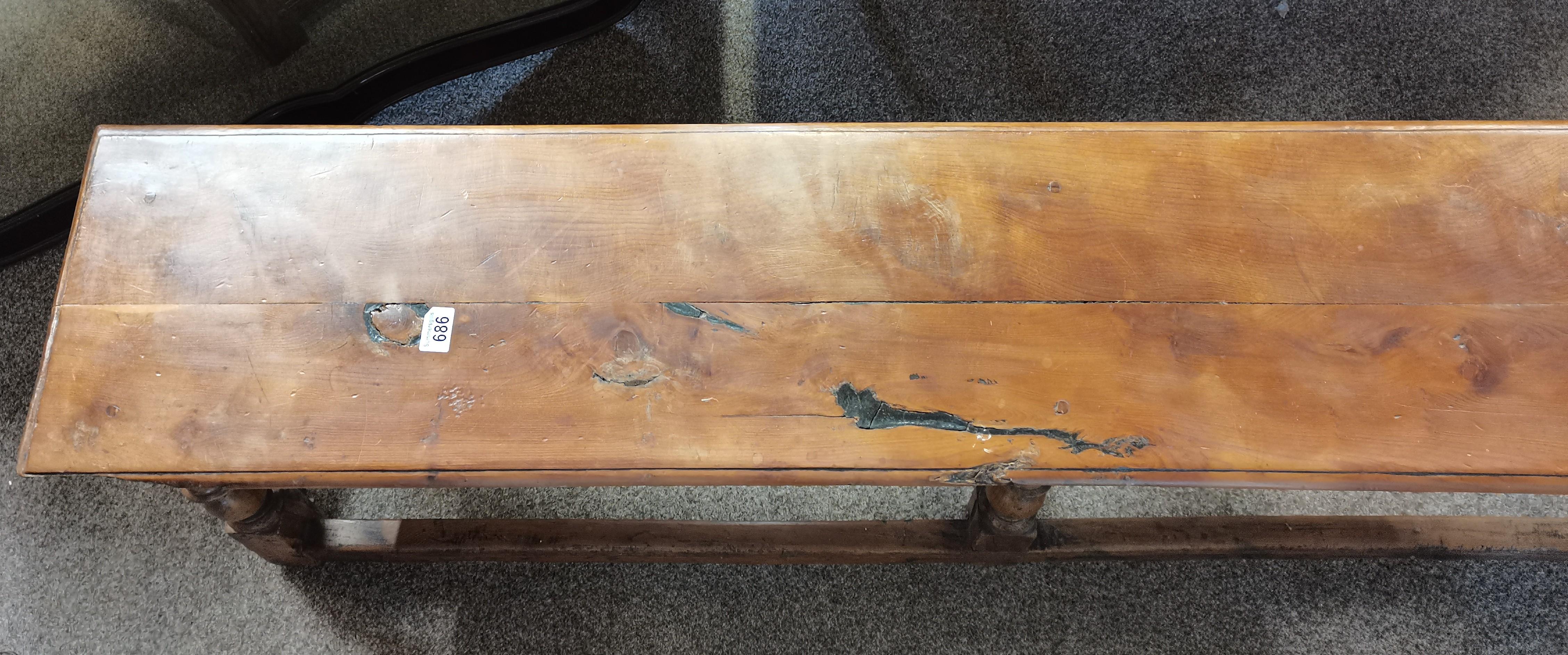 1.7m long early yew wood long stool - Image 3 of 3