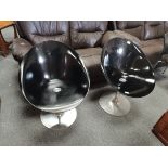 Pair of black and chrome EROS by KARTELL with Starck made in Italy chairs