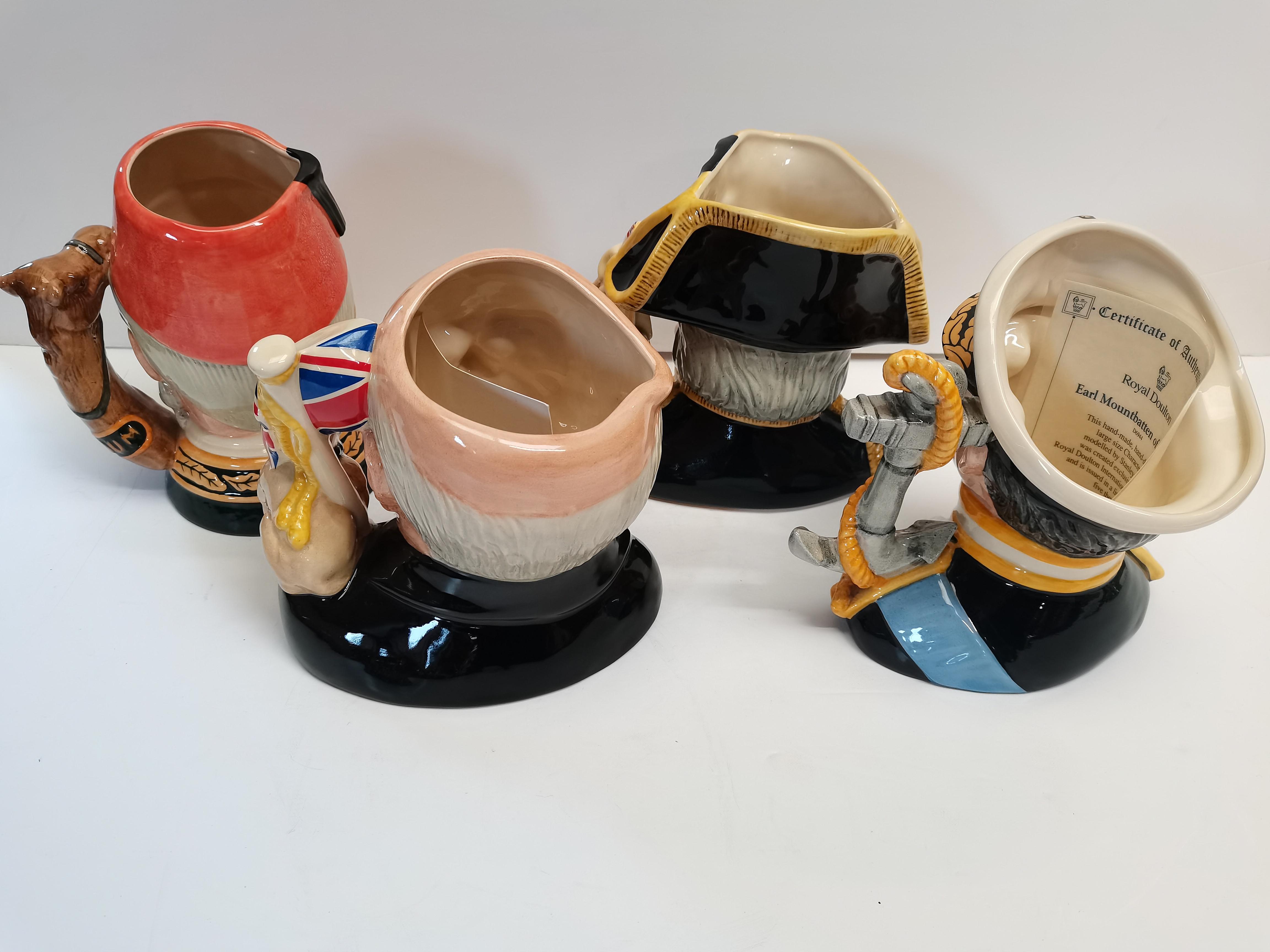 4 Royal Doulton Toby Jugs D6932 Lord Nelson, D6869 General Gordon, D6944 Earl Mountbatten of Burma - Image 2 of 6