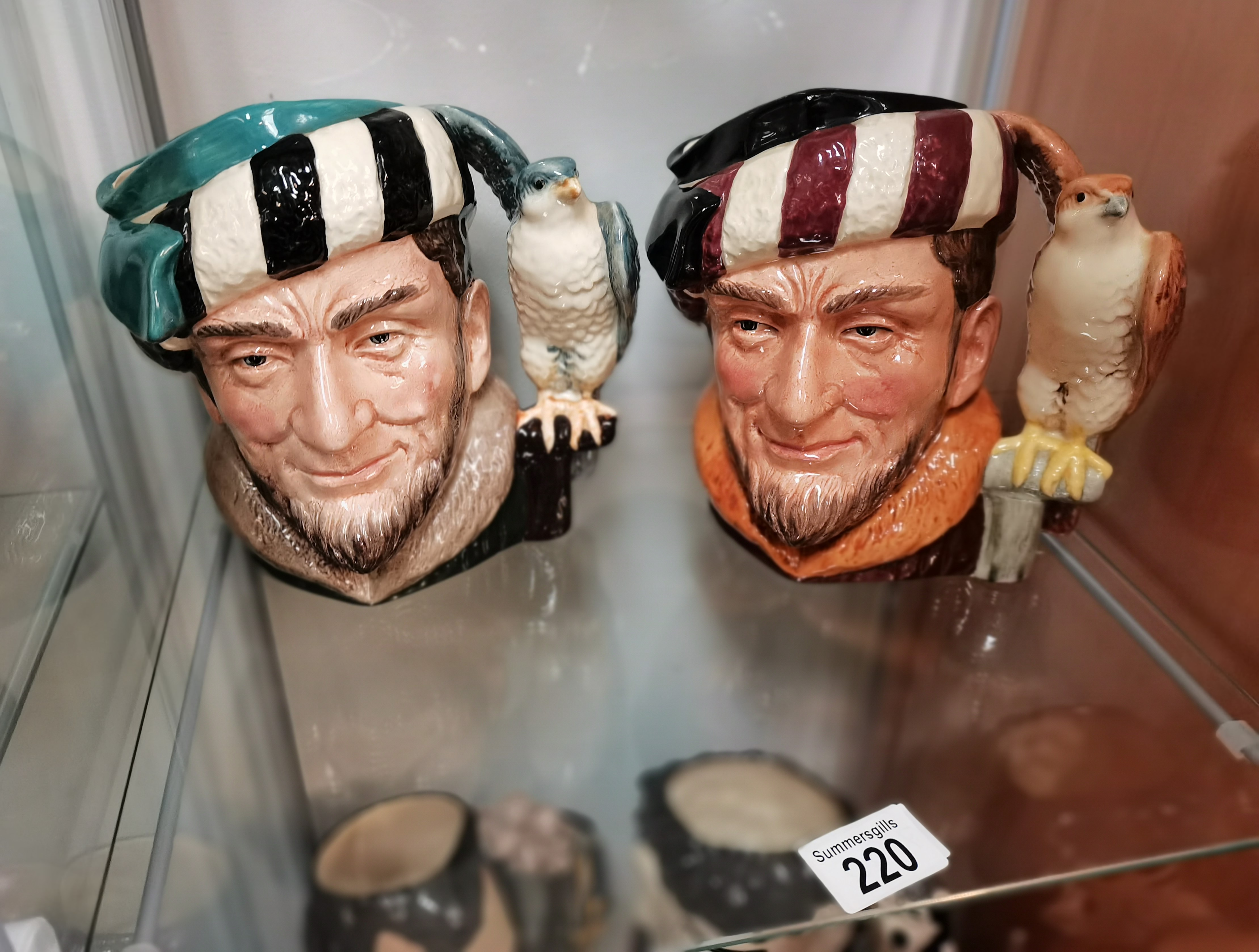 4 Royal Doulton Toby Jugs: 2x The falconer no,s D6800 and D6533 1x Issak Walton no. D 6404 and The - Image 2 of 2