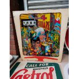 """Top of a Gottlieb & Co Pinball Machine that Lights up """"Gottlieb 4 Square"""" Glass Fronted"""