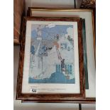 4 Pictures 2 large Pieces Of Parchment Decorated with Bright Floral Design, 1 Scarboro Fishing