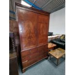 Antique mahogany and inlaid linen press drawers under neath missing shelves inside