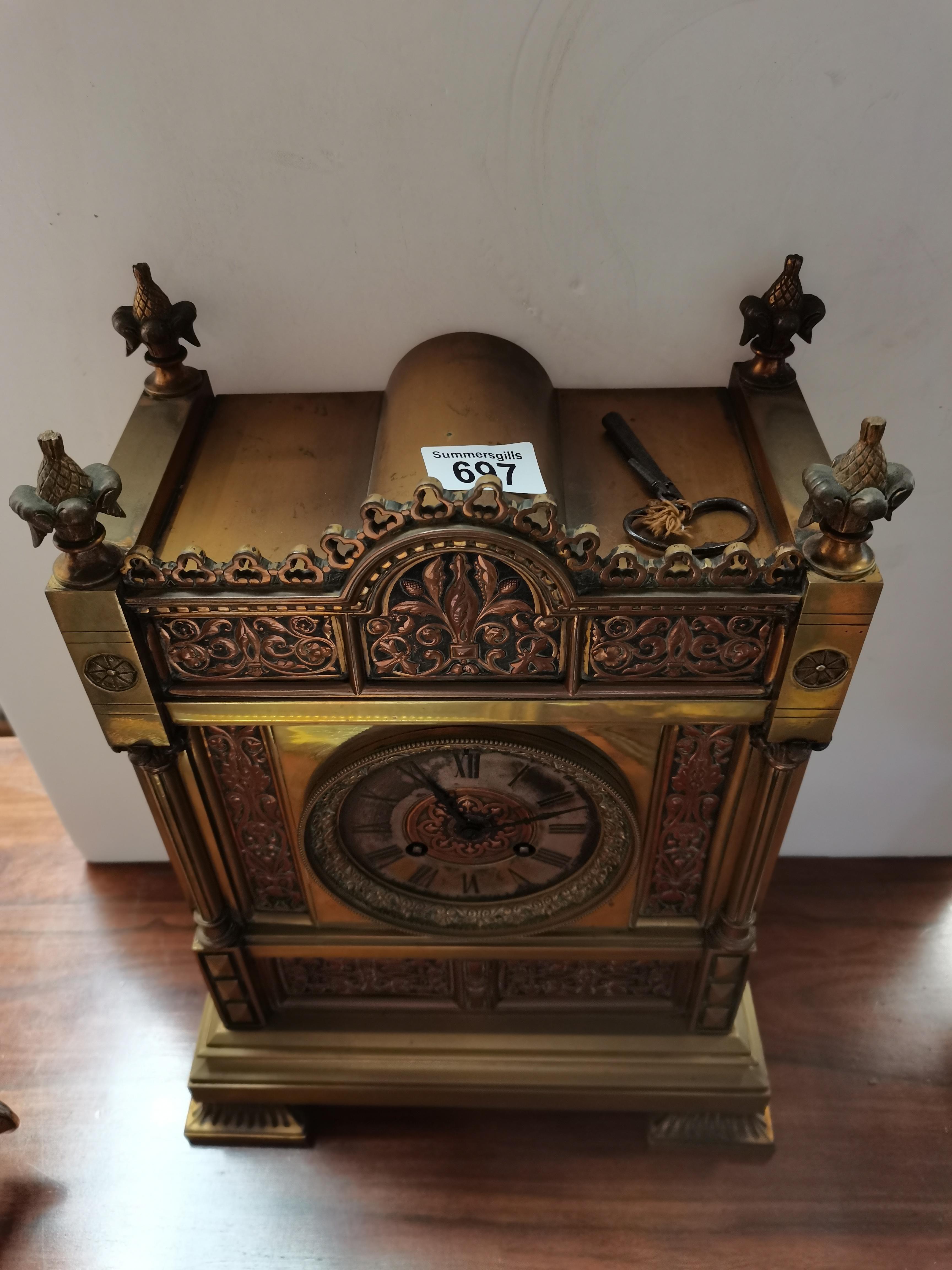 Antique 40cm brass mantle clock - Image 2 of 5