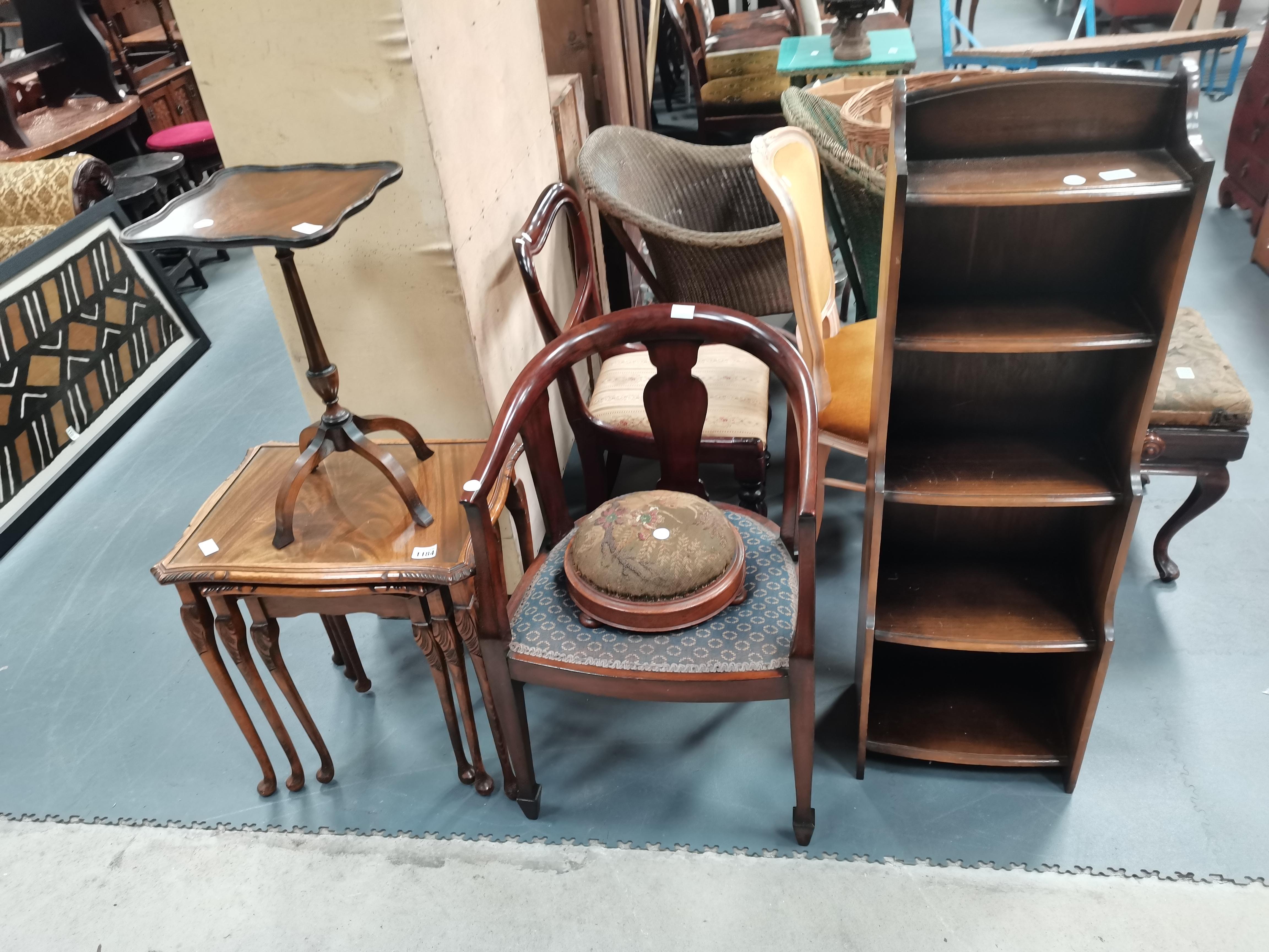 Antique chair, bookcase etc