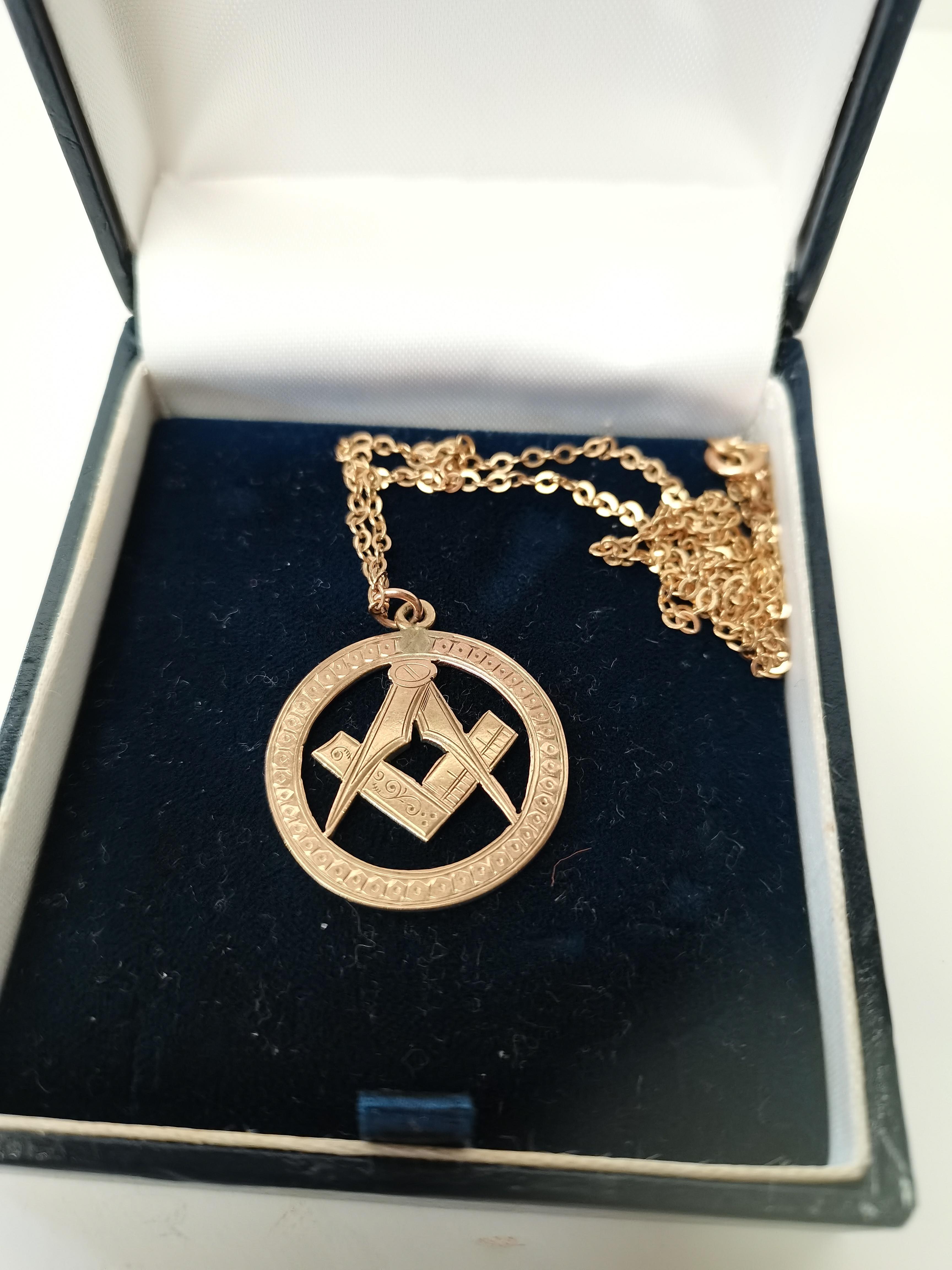 Gold masonic pendant on chain 5g