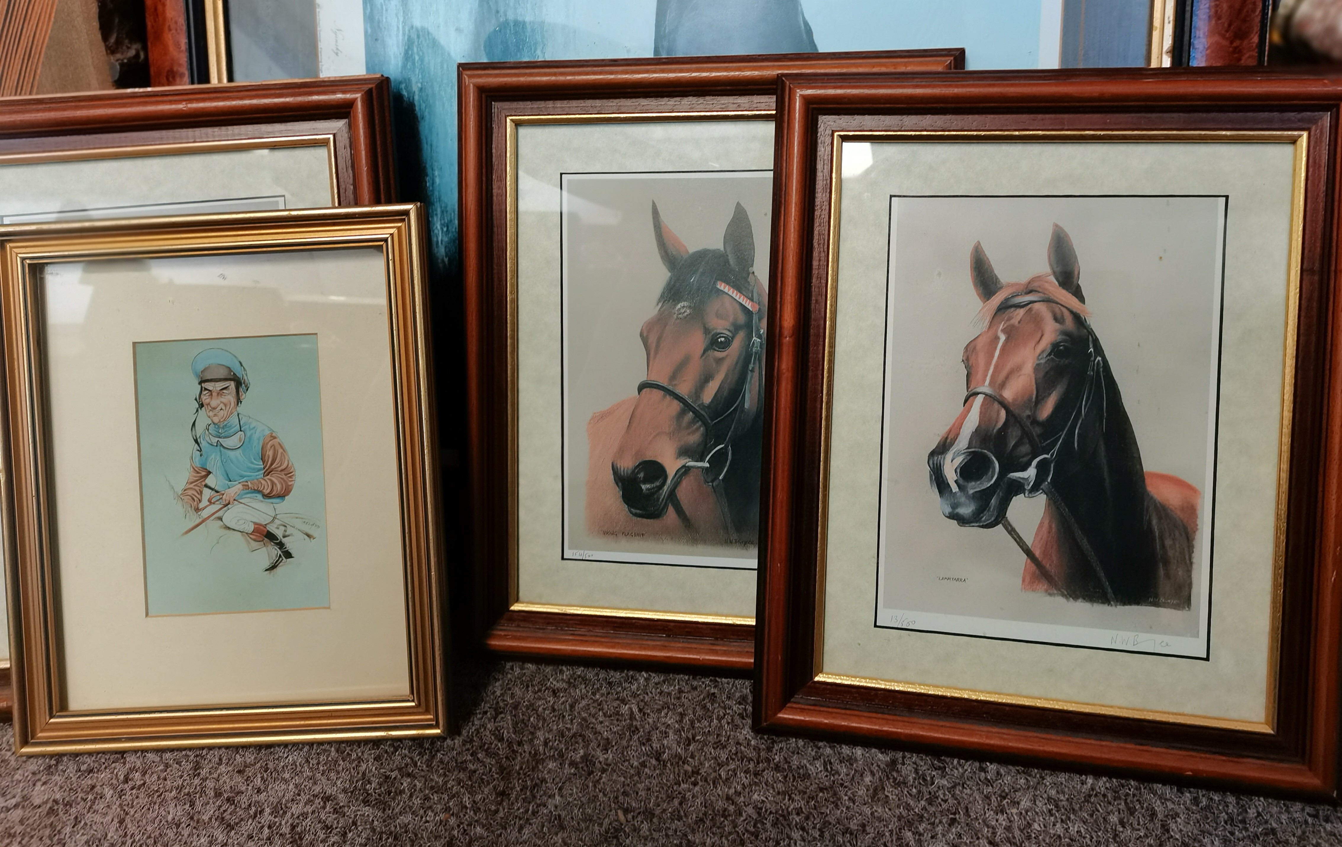 """4 Small Paintings of Horses by """"NW Brunyee"""", 1 Print of Nginsky 1 John Austin Print 2 other Pictures - Image 2 of 8"""