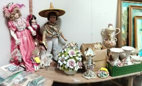 Collection of Capodimonte plus 5 x dolls