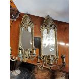 Pair of brass 65cm wall candle holders wiuth mirrors