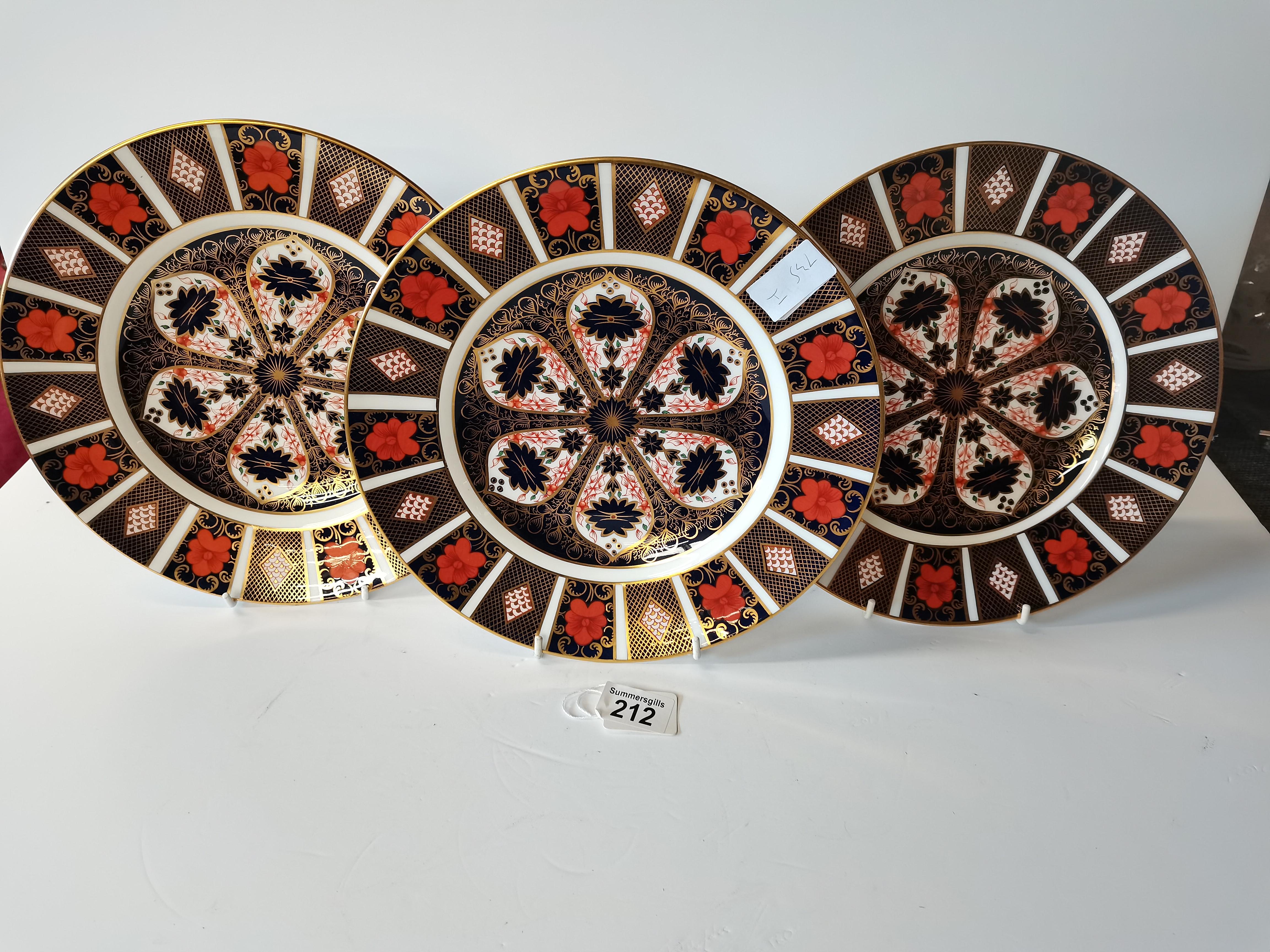 3 Royal Crown Derby Imari Pattern 1128 Dinner Plates 27cm