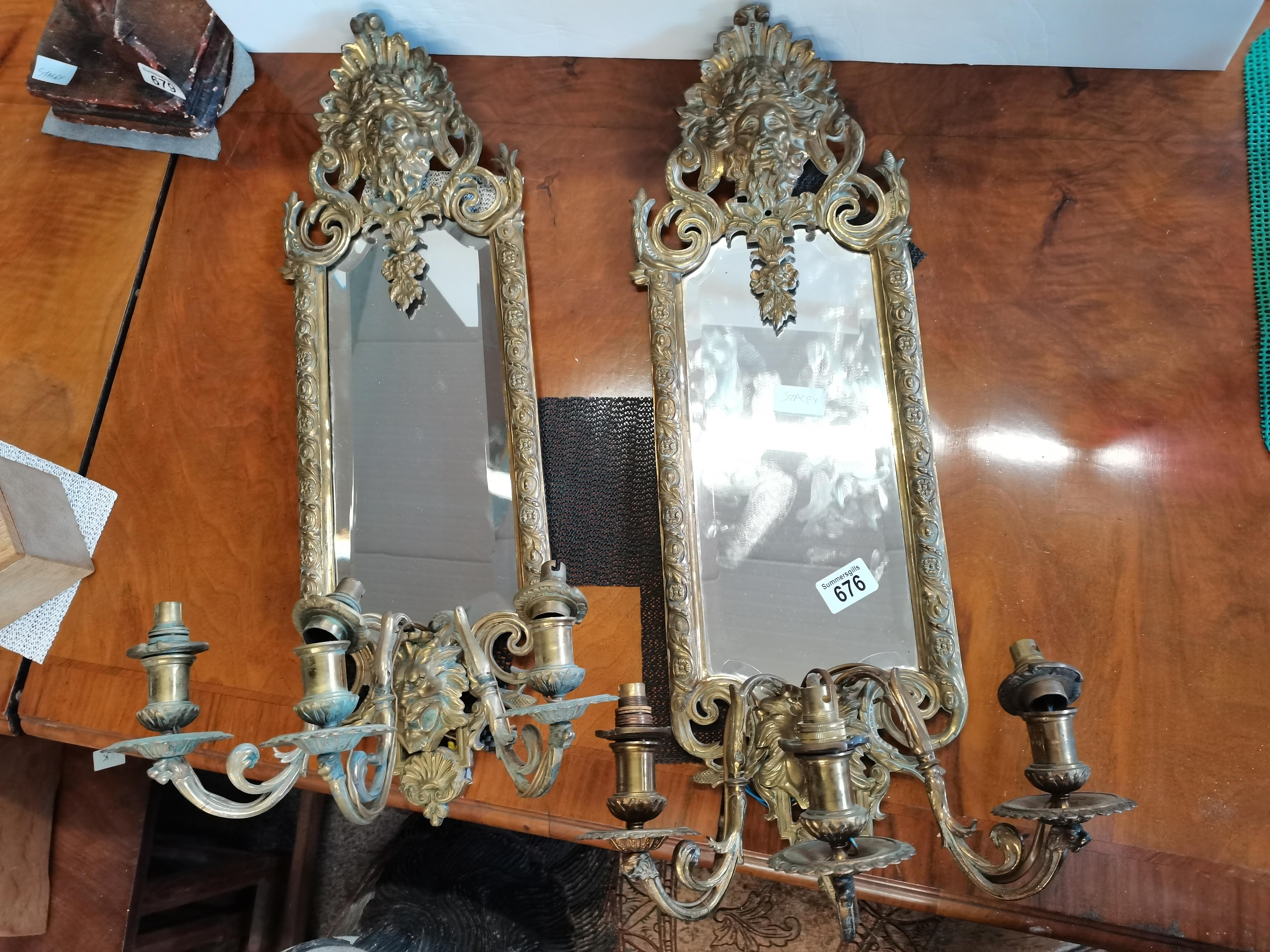 Pair of brass 65cm wall candle holders wiuth mirrors - Image 3 of 5