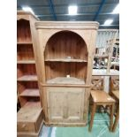 Pine corner cabinet and shelves