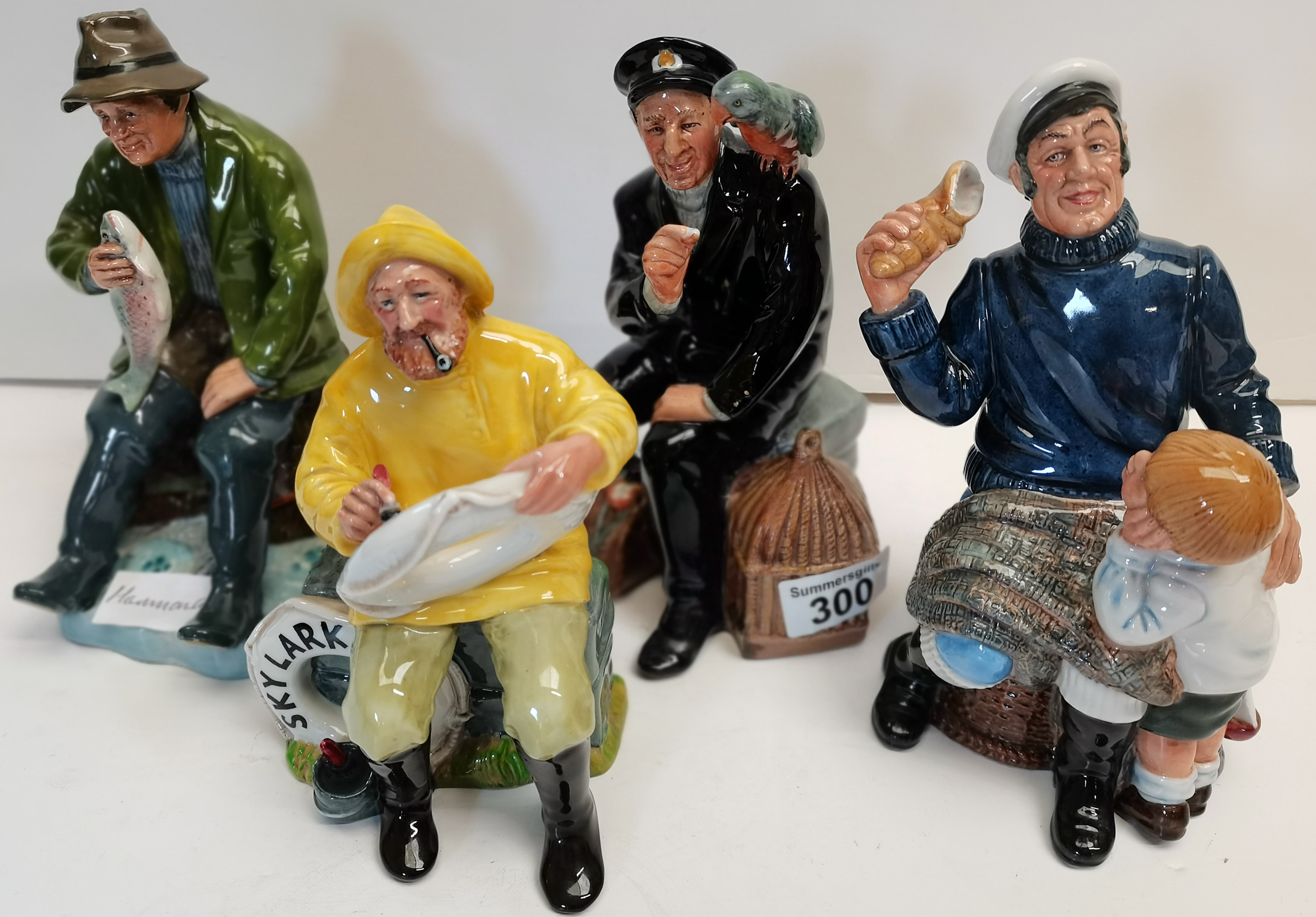 """4 Royal Doulton Figures """"Song of the Sea"""" HN2729,The Boatman HN2417, Shore Leave HN2254 and A Good"""