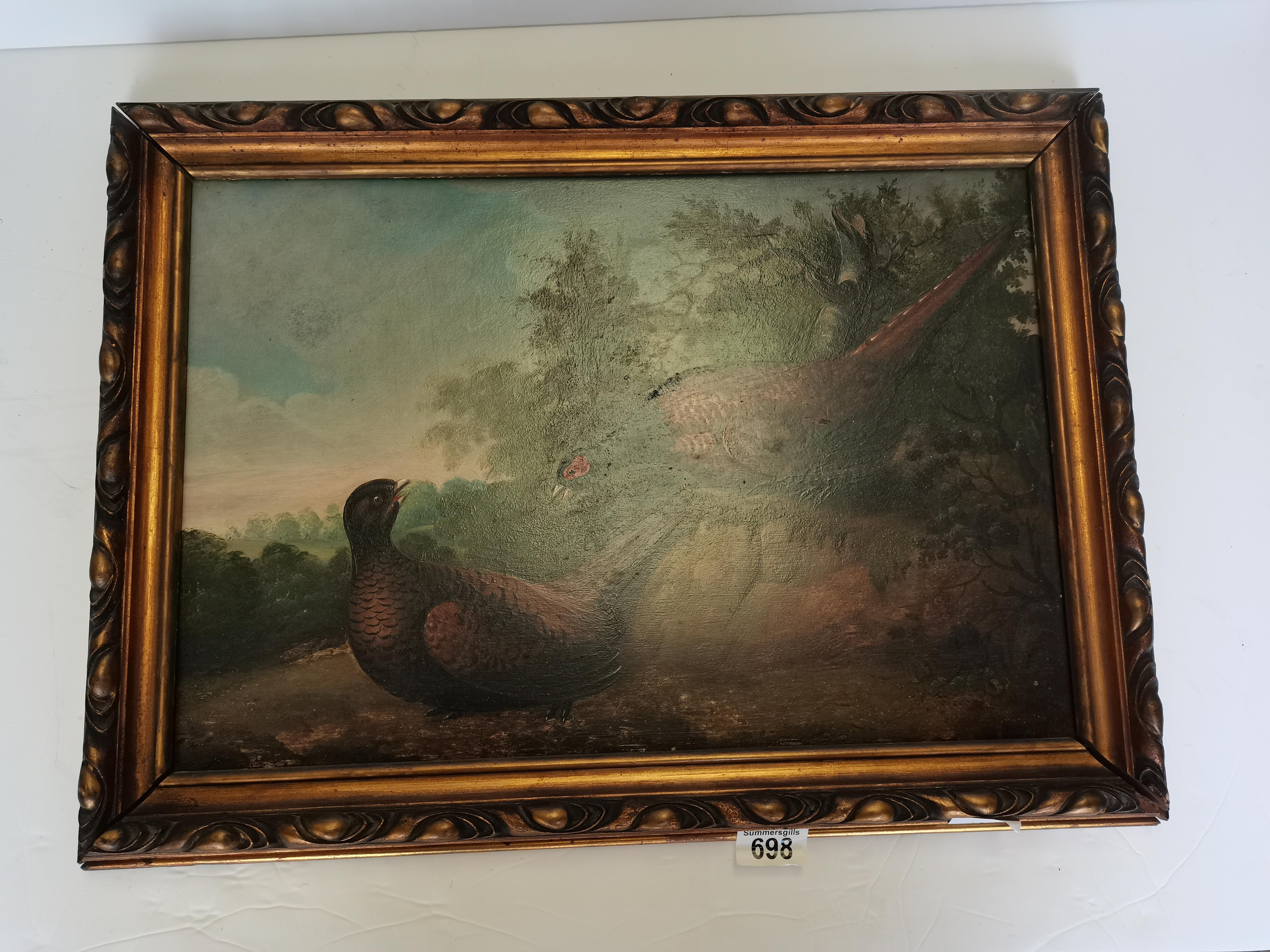 Early Oil painting on board of a Pheasants by F Haller 50cm x 35cm