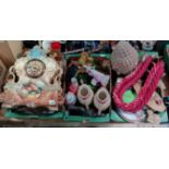 3 boxes miscl items incl ornate mantle clock, vintage glassware, lady figures etc