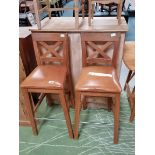 Pair of leather seated bar/high chairs