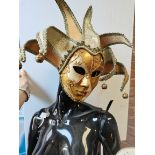Black Mannequin on Glass Base and 4 Ballroom Masks