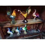 7 x murano glass birds