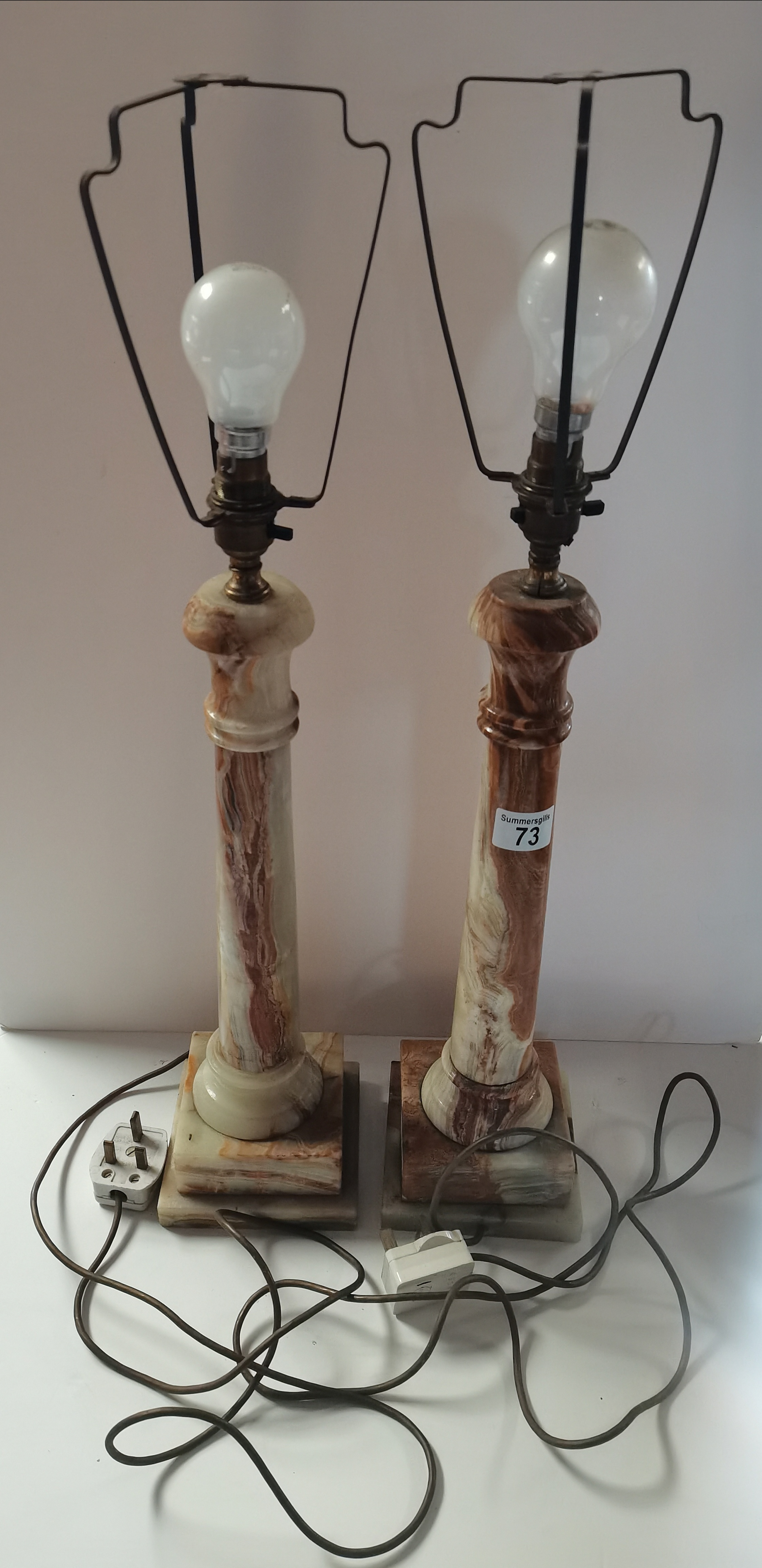 Pair of oynx table lamps