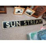 1.45cm x 20cm brass original railwat/ train name plate SUN STREAN and photos