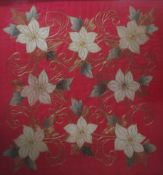 TWO 20TH CENTURY GILT WIREWORK ON SILK TAPESTRIES Floral designs, bearing labels verso 'Bought