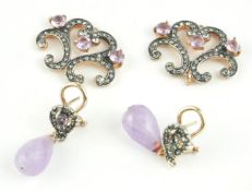 A PAIR OF 9CT GOLD, AMETHYST AND PASTE DROP EARRINGS Having faceted amethyst drops, together with