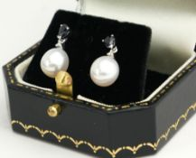 A PAIR OF SAPPHIRE, DIAMOND AND PEARL DROP EARRINGS. (0.7cm)