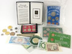 A COLLECTION OF VICTORIAN AND LATER BRITISH AND FOREIGN COINS AND BANKNOTES Comprising a silver four