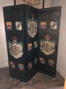 A 19TH CENTURY DESIGN THREEFOLD DRESSING SCREEN Decorated with coats and of arms. (165cm x 188cm)