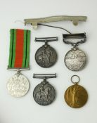 A COLLECTION OF WWI AND LATER BRITISH ARMY WAR MEDALS To include a silver WWI Defence medal and