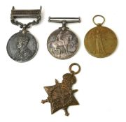 A SET OF WWI AND LATER BRITISH ARMY WAR MEDALS To include a WWI silver medal, bronze star and