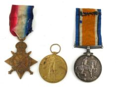 A SET OF THREE WWI BRITISH ARMY WAR MEDALS Silver medal, 1915/15 star and Great War for Civilisation