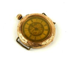AN EARLY 20TH CENTURY 14CT GOLD WRISTWATCH Having an engraved outer case, dial and manual wind. (
