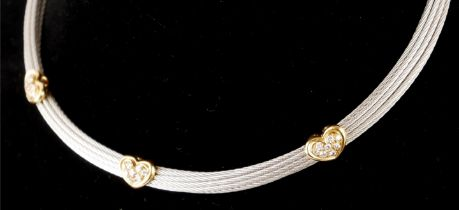 FRED, PARIS, AN 18CT GOLD AND SILVER COLLAR NECKLACE PAVÉ SET WITH DIAMOND HEARTS.