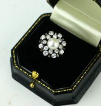 AN 18CT WHITE GOLD, PEARL AND DIAMOND RING, CIRCA 1950 (size J). (diamond approx 1.30ct)