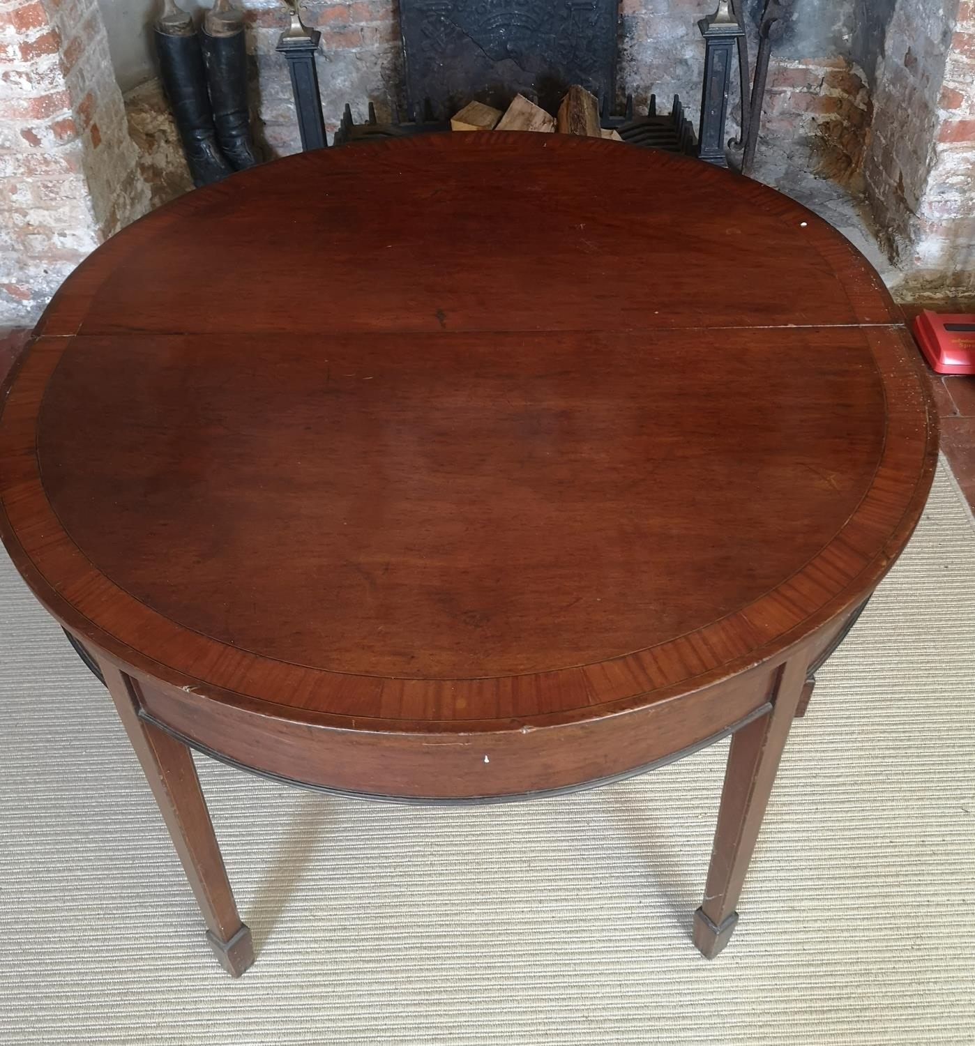 A 19TH CENTURY MAHOGANY AND CROSSBANDED 'D' END DINING TABLE With one extra leaf, raised on square - Image 2 of 4
