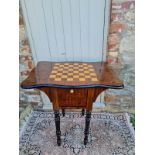 A VICTORIAN STYLE MAHOGANY GAMES TABLE With cartouche parquetry and checkerboard top above two