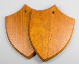 A PAIR OF VAN INGEN & VAN INGEN OF MYSORE CARVED HARDWOOD REPLICA SHIELDS. Exceptional quality