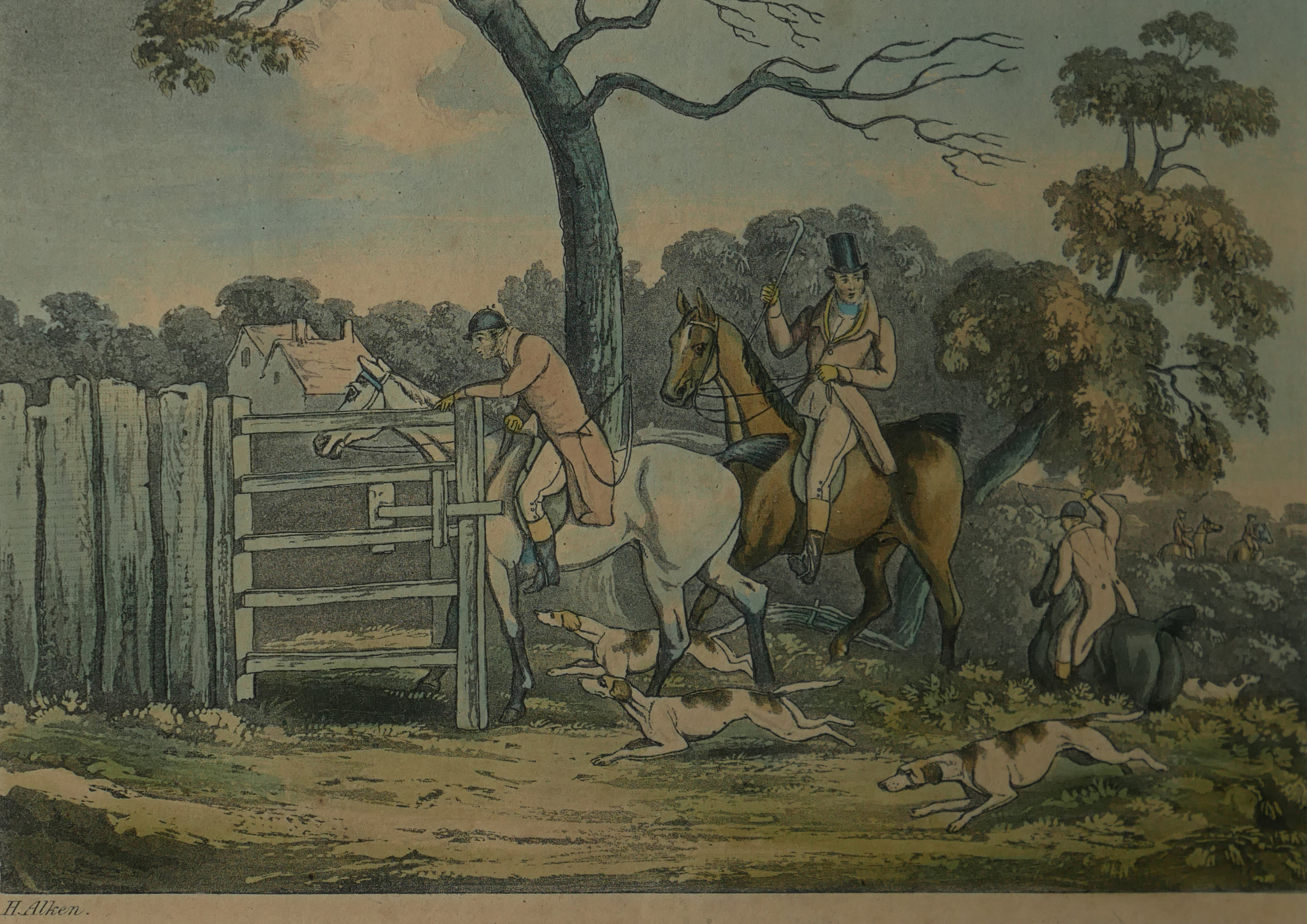 A COLLECTION OF SPORTING COLOURED ENGRAVINGS To include a scene Ben Marshall - notions series,