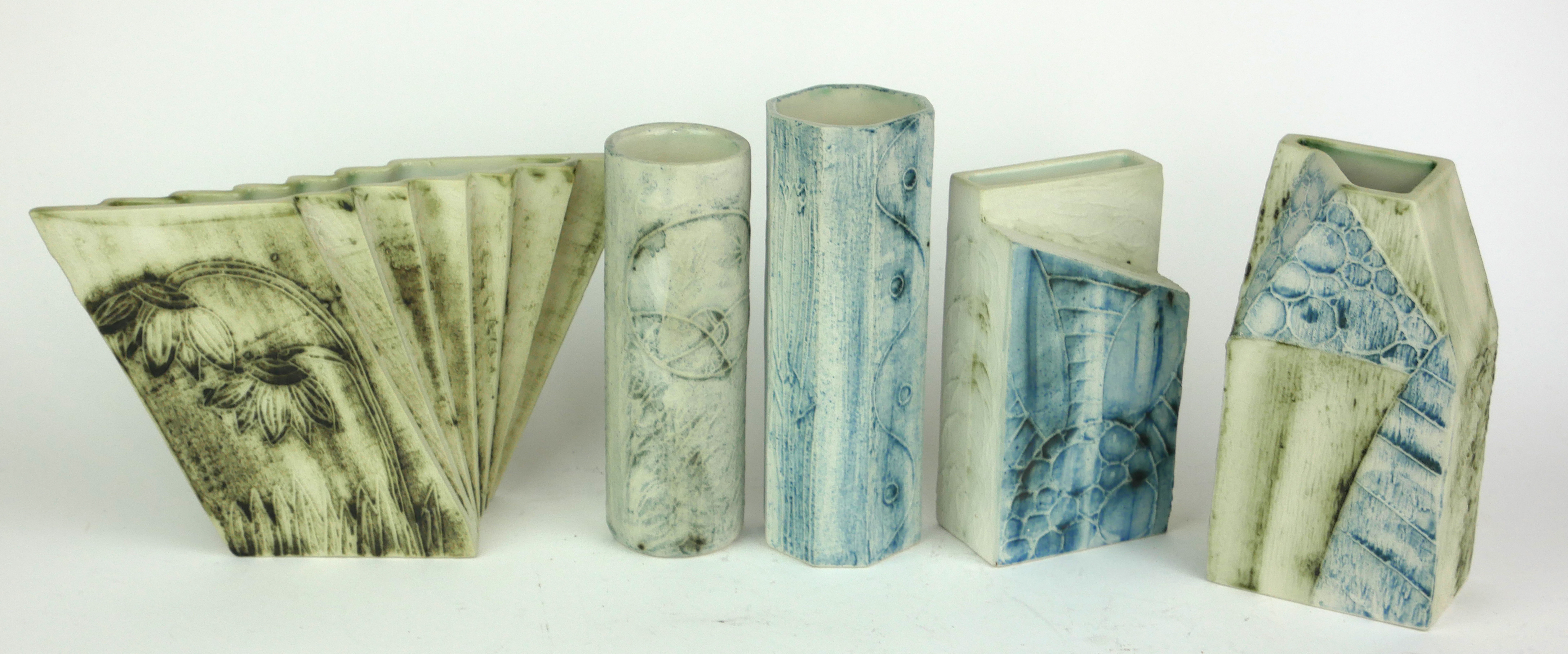 A COLLECTION OF MID 20TH CENTURY CORNISH ART POTTERY VASES Geometric form with blue/green