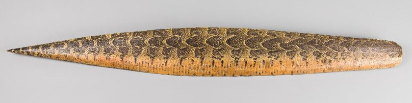 ROWLAND WARD, AN UNUSUAL EARLY 20TH CENTURY TAXIDERMY PYTHON SKIN SHIELD MOUNT. The wooden structure