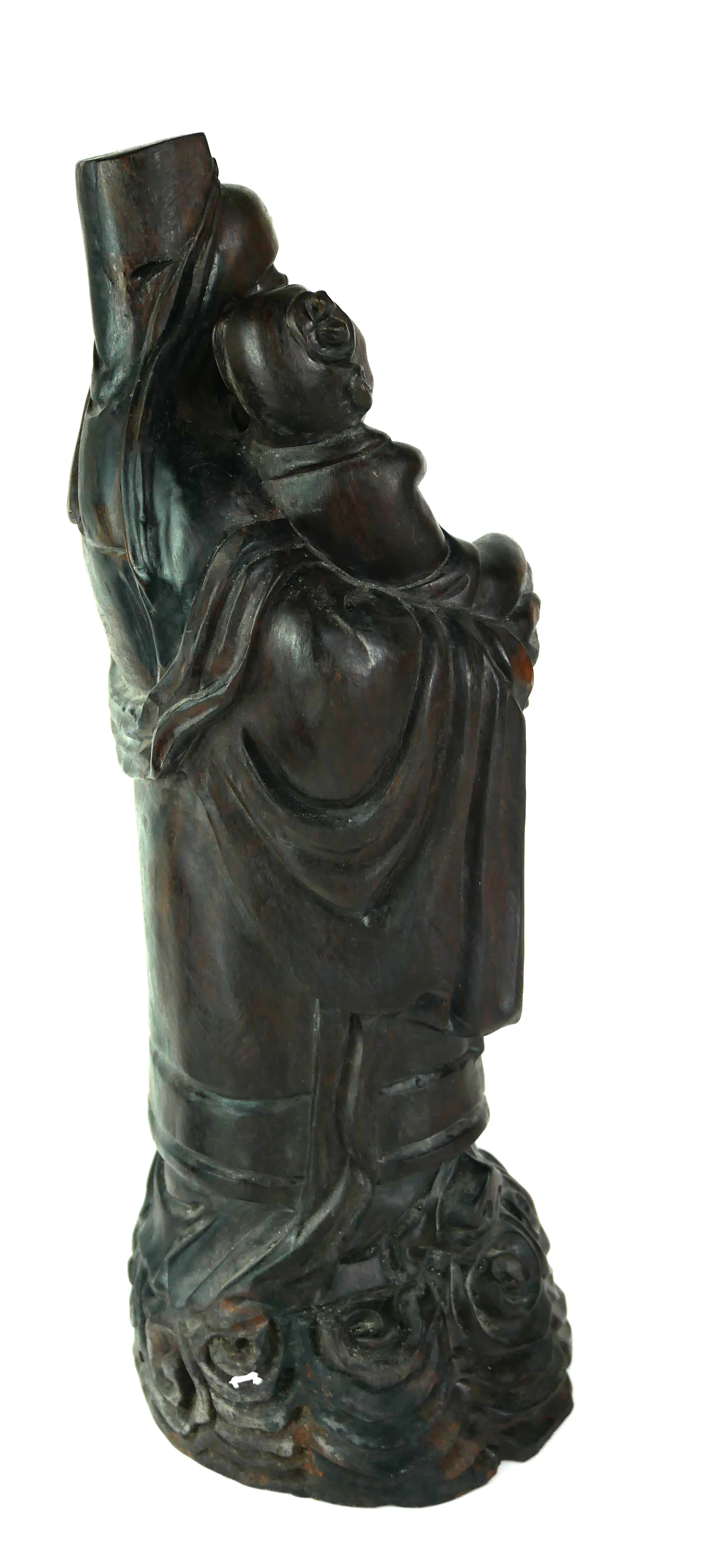 AN EARLY 20TH CENTURY CHINESE ROSEWOOD GROUP CARVING OF IMMORTAL FIGURE HOLDING A CHILD Raised on - Image 2 of 2