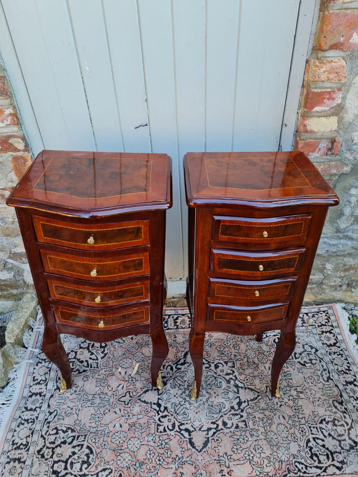 A PAIR OF CONTINENTAL LACQUERED WALNUT BOW FRONTED PEDESTAL CHESTS With four drawers, on cabriole - Image 2 of 2