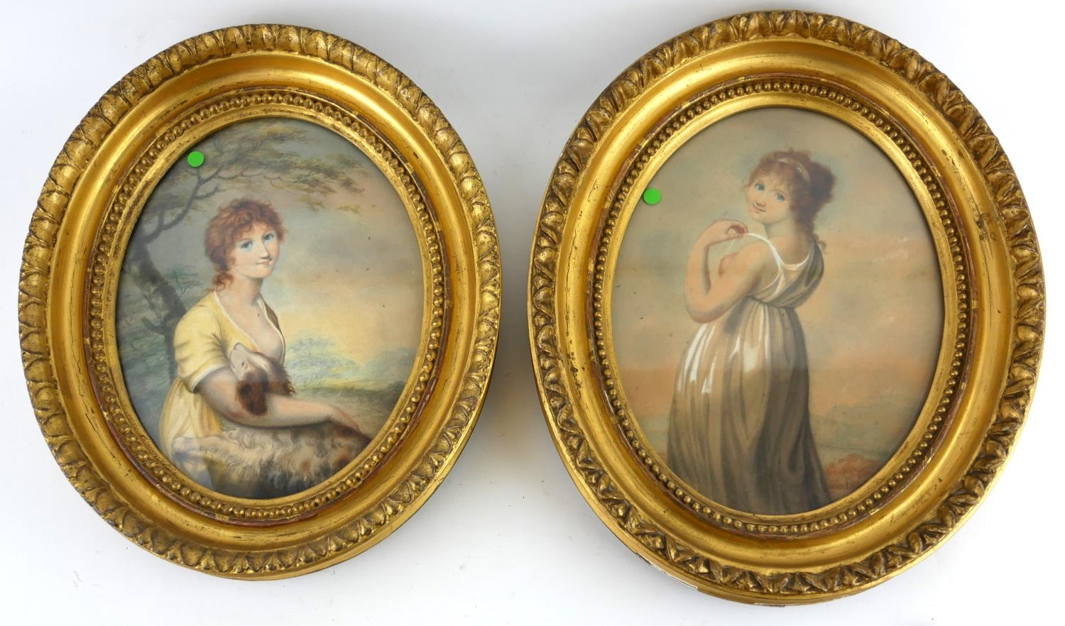 A PAIR OF EARLY 19TH CENTURY BRITISH SCHOOL OVAL WATERCOLOUR PORTRAIT MINIATURES Young lady in a